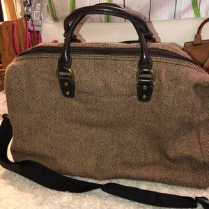 Fossil Herringbone Tweed/leather handles Good Cond